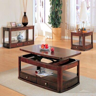 Wildon home r benicia coffee table set reviews wayfair for Dark wood lift top coffee table