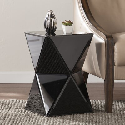 Mercer41 Rita Mirrored End Table in Black