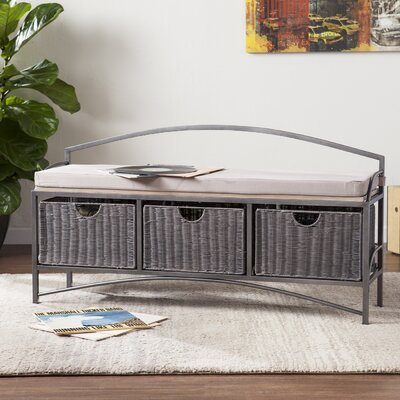 Beachcrest Home Woodbine Storage Bench