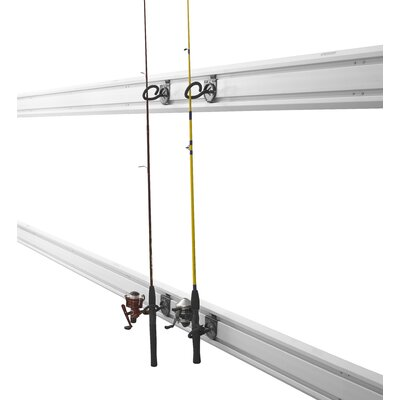 Gladiator fishing pole holder garage hook wall mounted for Fishing pole wall rack