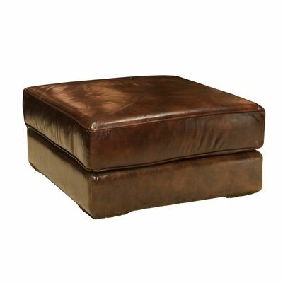 Elements Fine Home Furnishings Laguna Top Grain Leather Cocktail Ottoman in Saddle