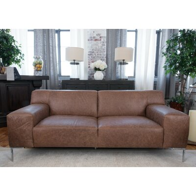 Elements Fine Home Furnishings Industrial Leather Sofa