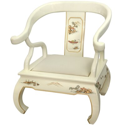 Oriental Furniture Landscape Ming Fabric Arm Chair