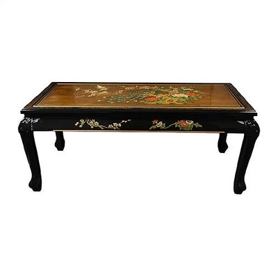 Oriental Furniture Gold Leaf Coffee Table with Claw Feet