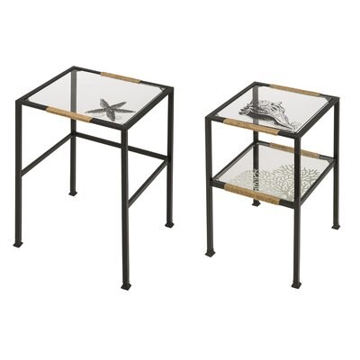 Evergreen Enterprises, Inc Pen and Ink Sea Shell 2 Piece Nesting Tables Set