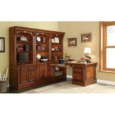 Parker House Furniture Huntington 7-Piece Corner Wall Unit with File Cabinet