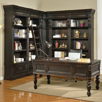 Parker House Furniture Grand Manor Palazzo 7 Piece Writing Desk and Bookcase