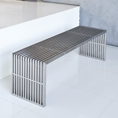 Pangea Home Lanser Bench Brushed Metal
