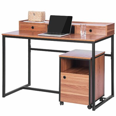 Merax 2 Piece Writing Desk with Cabinet Set