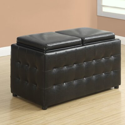 Monarch Specialties Inc. Faux Leather Storage Tray Ottoman