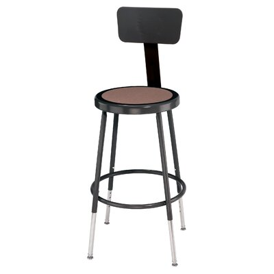 National Public Seating Height Adjustable Stool with Back and Round Hardboard Seat