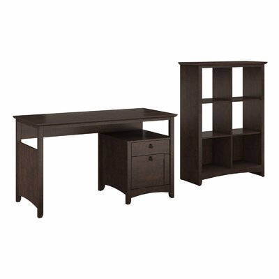 Darby Home Co Egger Single Pedestal Desk with 6-Cube Bookcase