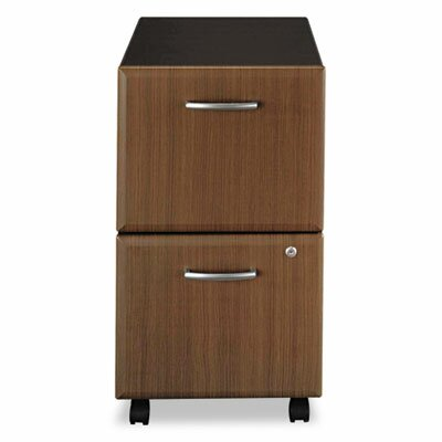 Bush Furniture Two-Drawer Mobile Vertical File, 15-5/8w x20-3/8d, Sienna Walnut/Bronze