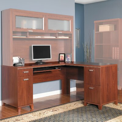 Bush Furniture Tuxedo L-Shaped Executive Desk with Keyboard and Mouse Shelf