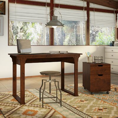 Bush Furniture Mission Creek Writing Desk with 2 Drawer Mobile Pedestal