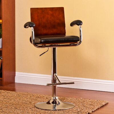 AC Pacific Modern Wood Adjustable Height Swivel Bar Stool Image