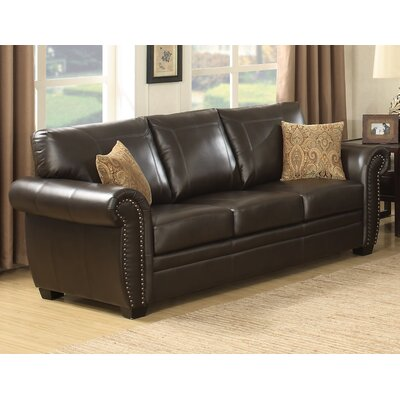 AC Pacific Louis Stationary Leather Sofa