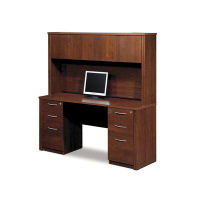 Bestar Embassy Credenza And Hutch Kit Including Assembled Pedestals