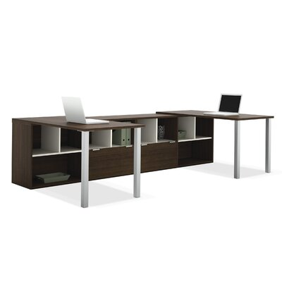 Bestar Contempo Double Computer Desks with Storage