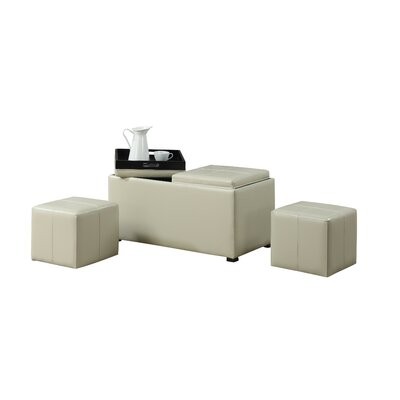 Simpli Home Avalon 5 Piece Rectangular Storage Ottoman Set