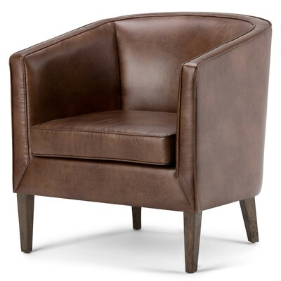Simpli Home Mitchum Bonded Leather Barrel Chair