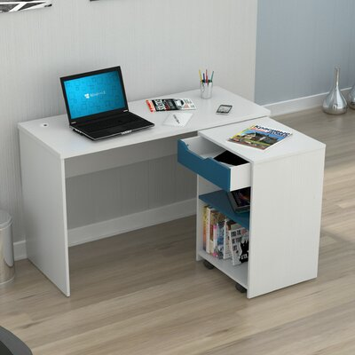 Inval Computer Desk with Swing out Storage and 1 Drawer