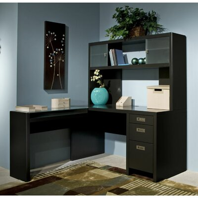Kathy Ireland Office by Bush New York Skyline L-Shape Computer Desk with Hutch