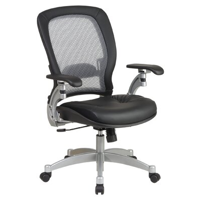 Office Star Products SPACE Air Grid Leather Conference Chair with Arms