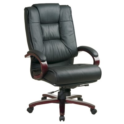 Office Star Products Leather High-Back Executive Chair with Arms