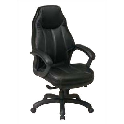 Office Star Products High Black Leather D..