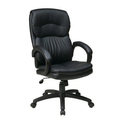 Office Star Products High-Back Eco Leather Executive Chair with Padded Arms