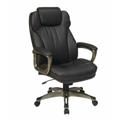 Office Star Products Eco Leather Executive Chair with Padded Arms