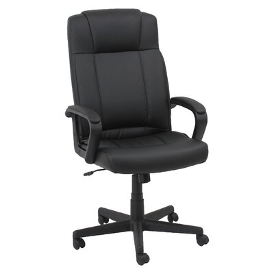 Oif High-Back Leather Executive Office Chair with Fixed Loop Arms
