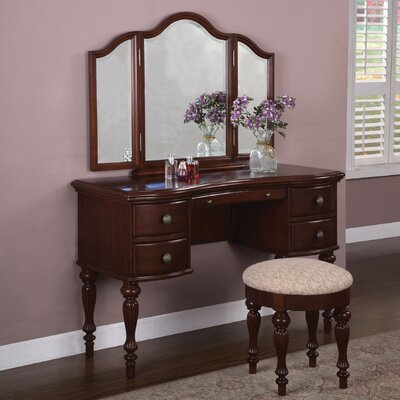 Alcott Hill Gonson Marquis Cherry Vanity Set with Mirror