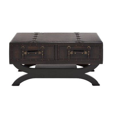 Woodland Imports Classy Wood Leather Coffee Table Reviews Wayfair