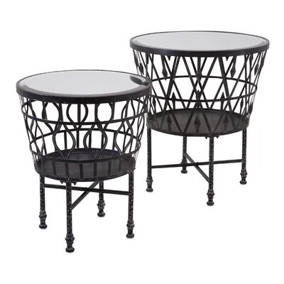 Woodland Imports Zaria Drum 2 Piece End Table Set