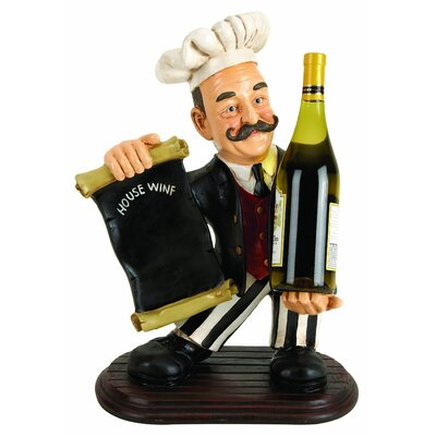 Woodland Imports Chef with Menu 1 Bottle Tabletop Wine Rack