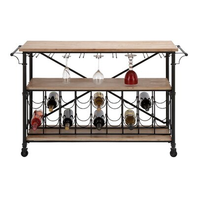 Woodland Imports Bar on Wheels 18 Bottle Floor Wine Rack