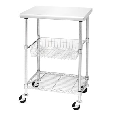 Seville Classics Kitchen Cart with Stainless Steel Top