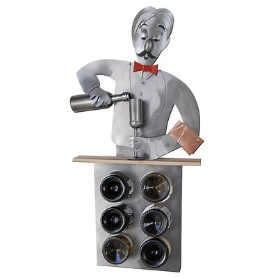 H & K SCULPTURES Bartender 6 Bottle Tabletop Win..