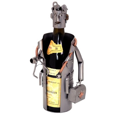 H & K SCULPTURES Male Doctor 1 Bottle Tabletop Wine Rack