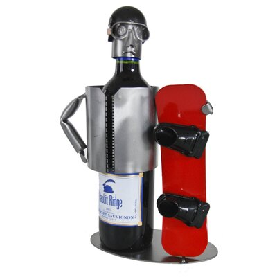 H & K SCULPTURES Snowboarder 1 Bottle Tabletop Wine Rack