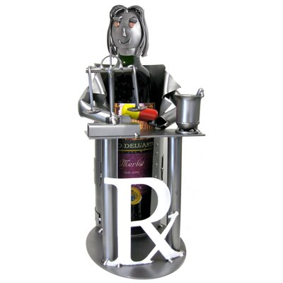 H & K SCULPTURES Female Pharmacist 1 Bottle Tabletop Wine Rack
