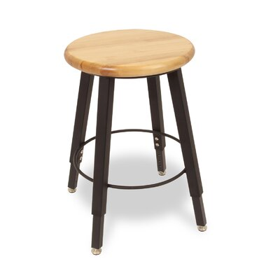 WB Manufacturing Adjustable Height Round Hardwood Seat 4 Leg Stool