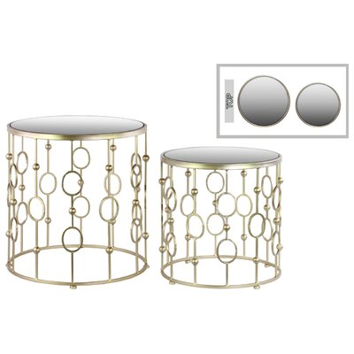 Urban Trends Metal Round 2 Piece Nesting Table Set
