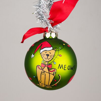 Christmas Cat Glass Ornament
