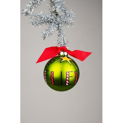 We Believe Green Glass Ball Ornament