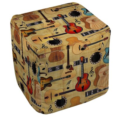 Manual Woodworkers & Weavers Guitar Collage Cream Ottoman