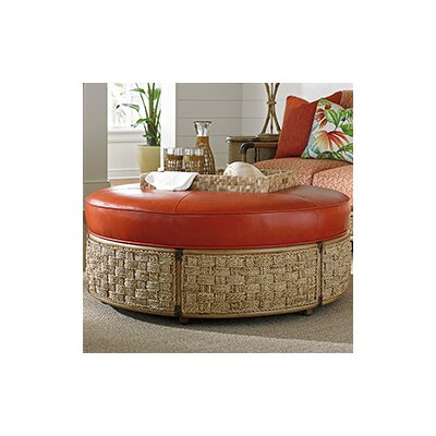 Tommy Bahama Home Twin Palms St Barts Leather Ottoman