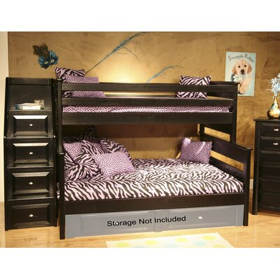 Chelsea Home Twin Over Full Bunk Bed with Stairw..